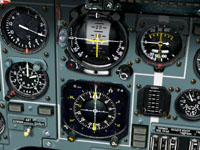 Central nav gauges showing on-course.
