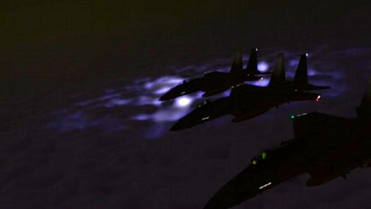 F-15's at night
