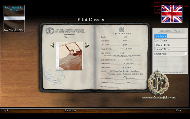 Wings Over Flanders Fields - The create pilot screen