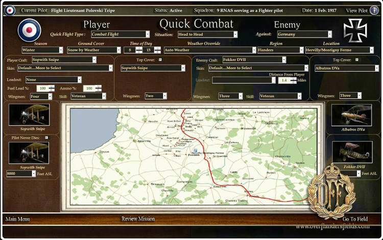 Wings Over Flanders Fields - The quick combat screen