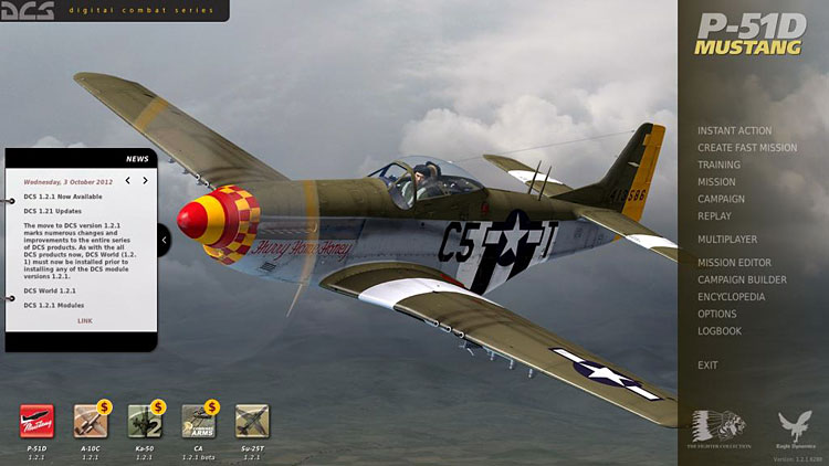 The DCS: P-51D Mustang Main Menu with News window