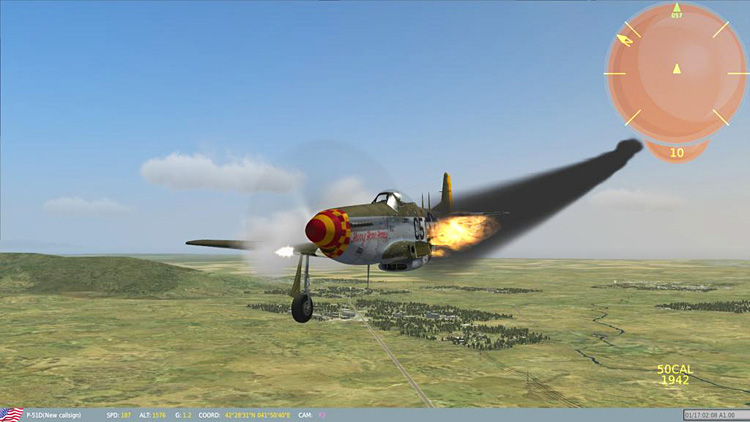 "The DCS: P-51D Mustang ""game mode"" flight without a wing"