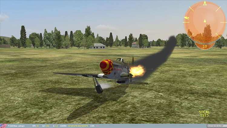 "The DCS: P-51D Mustang ""game mode"" one point landing"