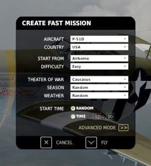 "The DCS: P-51D Mustang ""Create Fast Mission"" Menu"