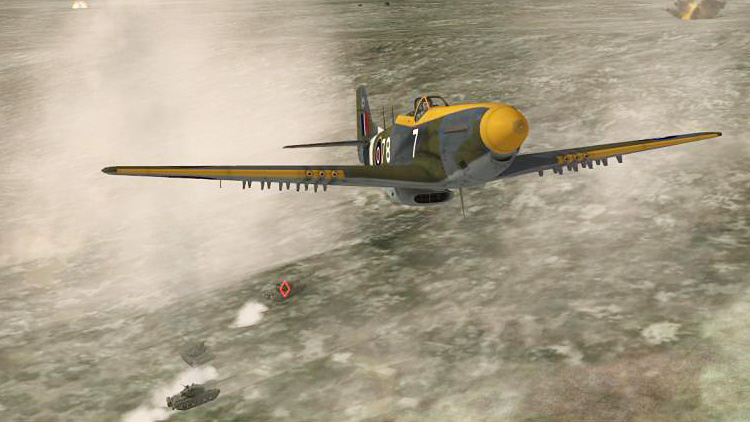 "The DCS: P-51D Mustang ""game mode"" attack on T-80s"