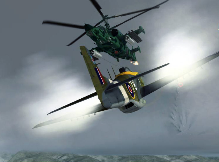 "The DCS: P-51D Mustang ""game mode"" attack an enemy helo"