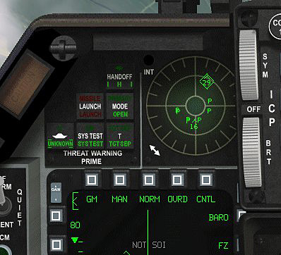 A glance at the RWR scope verifies the MiG-29 symbol,