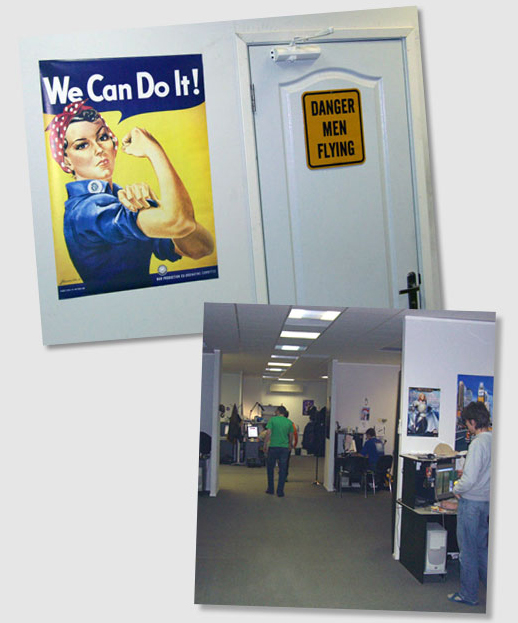 The entrance to the kitchen with an appropriate sign. Below: A look down the hall at theThe entrance to the kitchen with an appropriate sign. Below: A look down the hall at the workstations area.