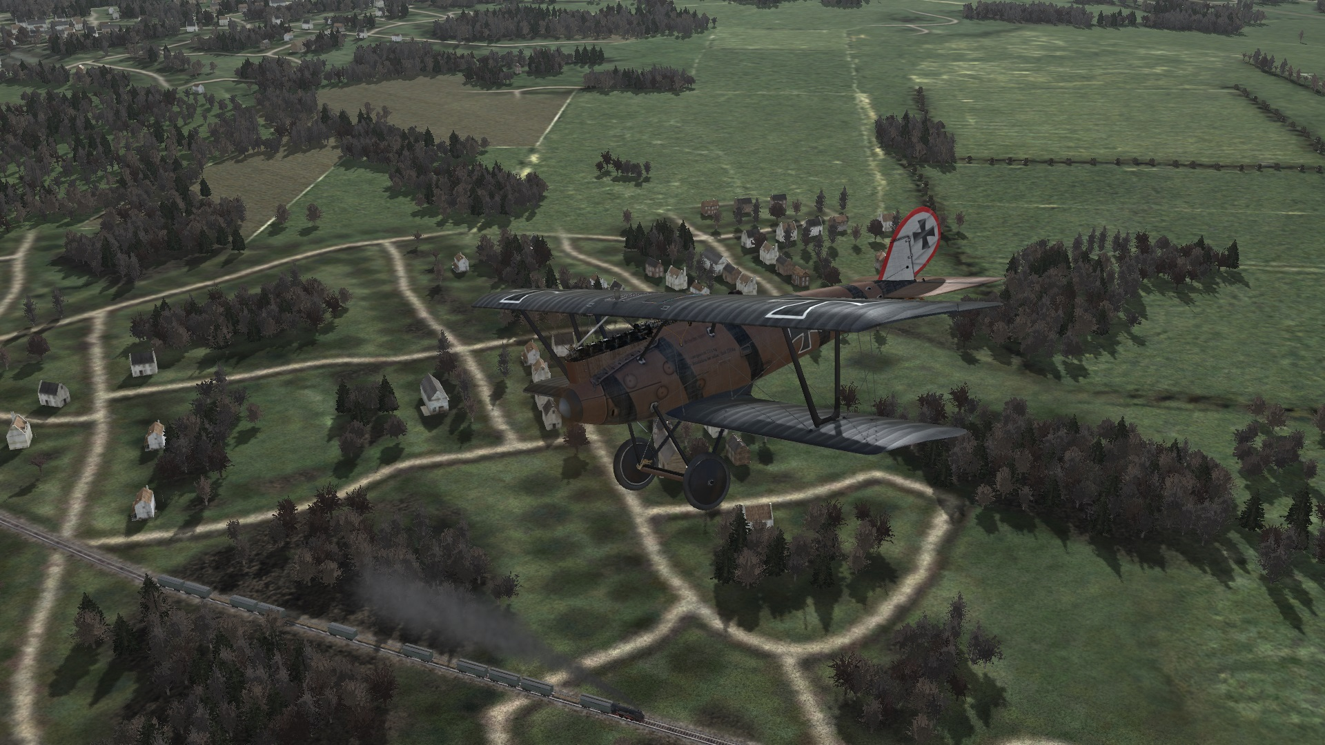 Jasta 20 Pfalz DIIIa ace flying over a German train.jpg