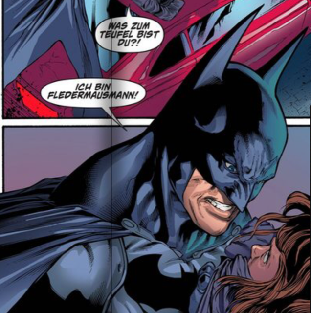 If Batman was German, he'd be even scarier. Imagine Ich Bin Fledermausmann! shouted at you. (Arkham Knight Comic)  batman.png
