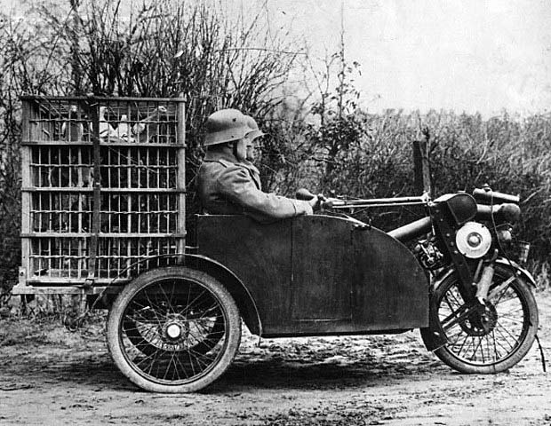 Front-wheel-drive three-wheeler with onboard carrier pigeon birdcage German.jpg